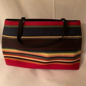Large Stripe Twill Structure Fabric Strap Tote Bag